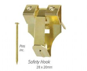 Safety Brass Picture Hooks for Walls - Large (Pack of 10)